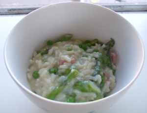Risotto with Spring Vegetables and Ham